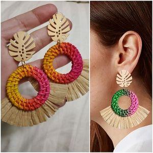 New Tropical Leaf w/Raffia & Woven Rattan earrings